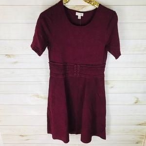 Maison Jules Belted Midi Dress Ruby Wine